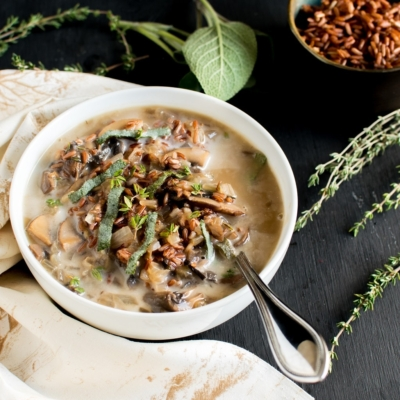 Vegan Mushroom Red Rice Soup is loaded with Vitamin D, fiber, iron and anti – oxidants. This wholesome and satisfying soup is flavorful and nourishes amazingly especially after a long tiring day. This soup is perfect for all season especially during winter in your cozy blanket | kiipfit.com