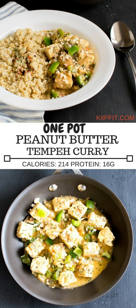 Multiple Images of One Pot Peanut Butter Tempeh Curry