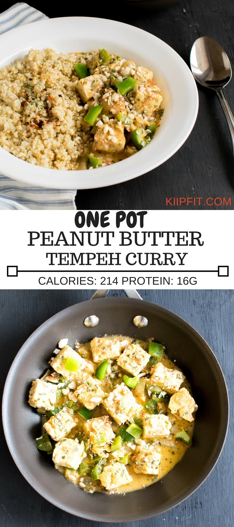 One Pot Peanut Butter Tempeh Curry is a lip-smacking entrée that's loaded with vegan protein. I made this recipe with simple ingredients and in few easy steps yet it's satisfying and flavorful [ vegan ] kiipfit.com