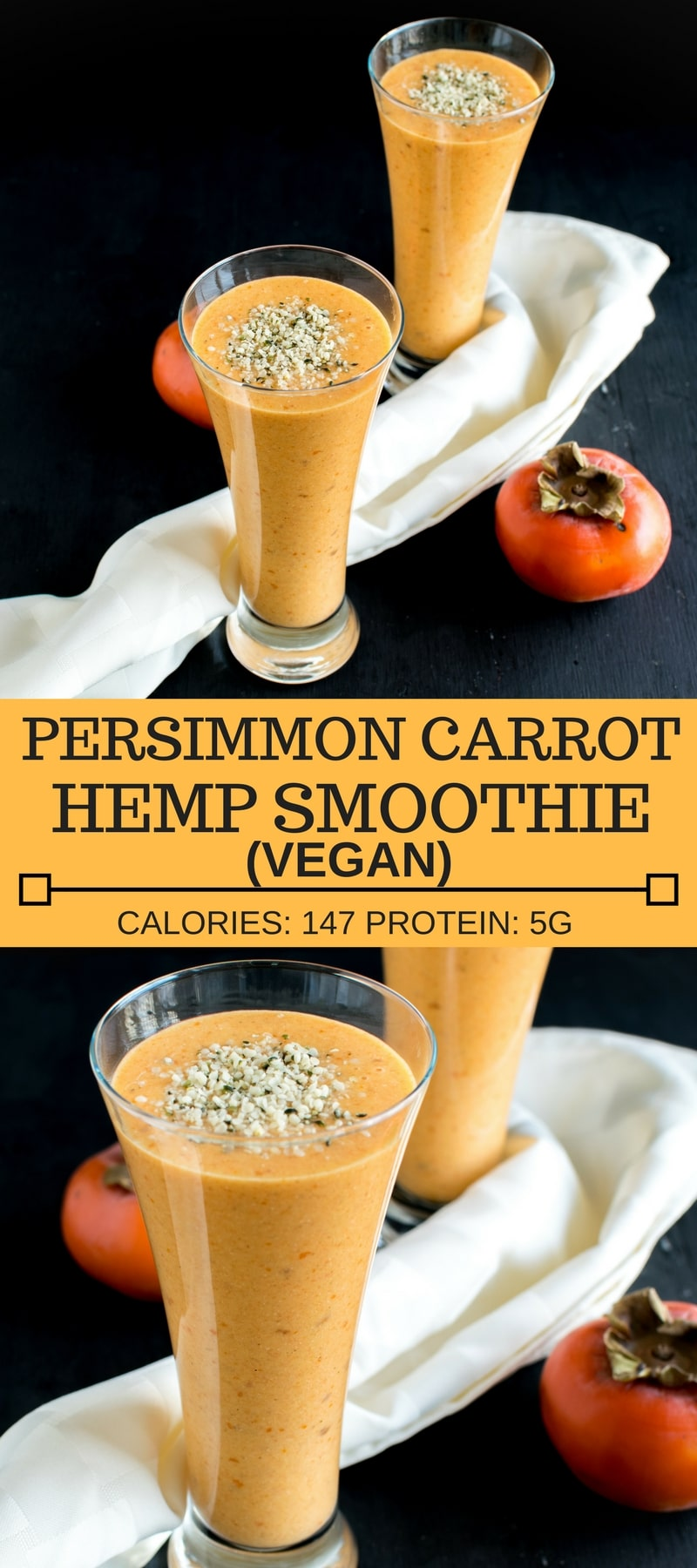Persimmon Carrot Hemp Smoothie is a low calorie yet a satisfyingly hydrating beverage. It's a perfect energizing drink after workouts. It's also a refreshing evening drink or a nutritious breakfast. All in all it's a versatile beverage that's vegan and gluten free | kiipfit.com