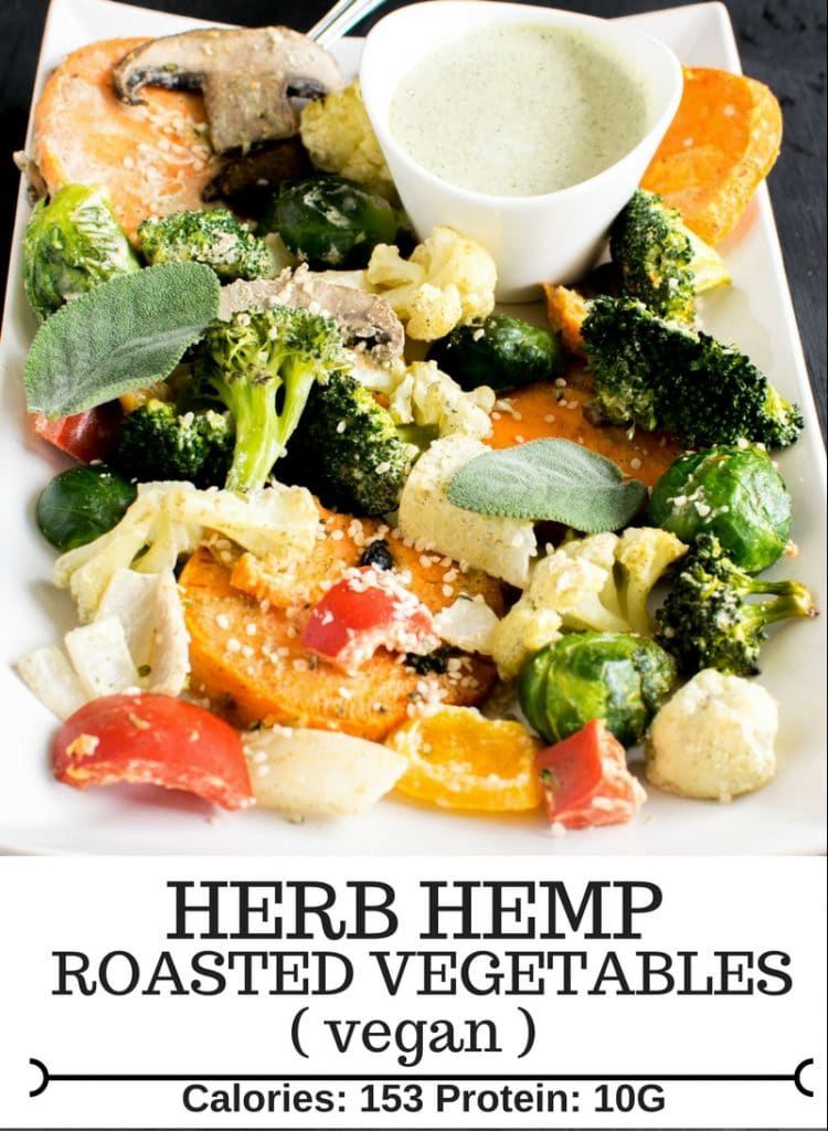 a close up view of Vegan Herb Hemp Roasted Vegetables