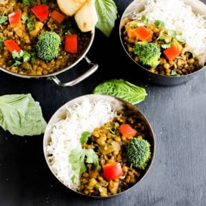Instant Pot Herbed Masala Lentil Curry is an easy and flavorful protein packed vegan entree. It's satisfying, healthy, nutritious and a complete dinner. It's aromatic and absolutely inviting [ vegan + GF ] kiipfit.com