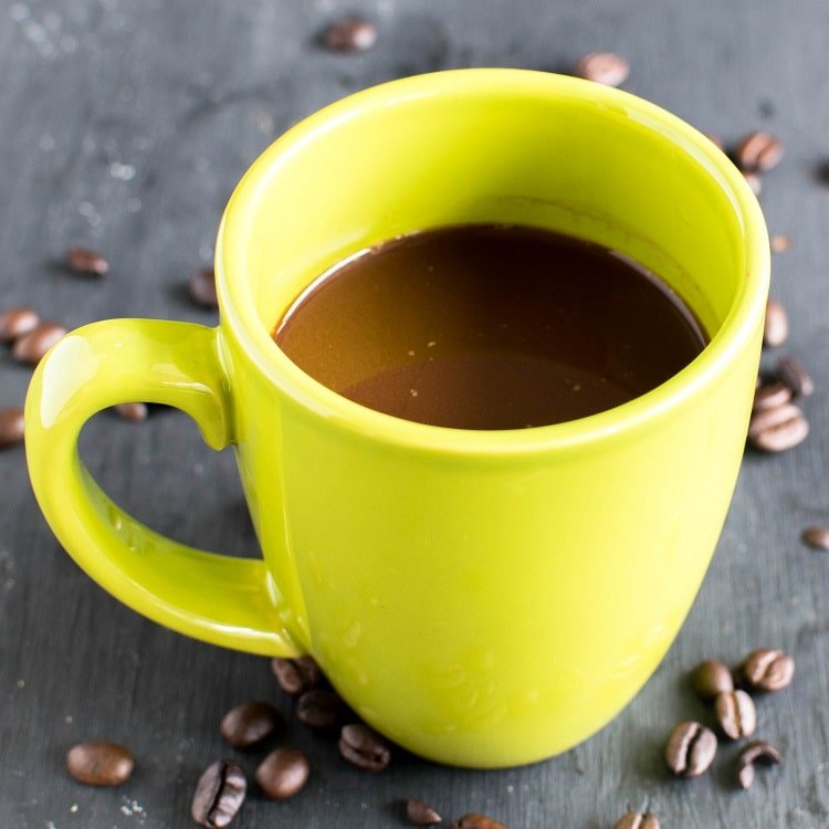 Fresh brewed coffee in a mug is shown in this image