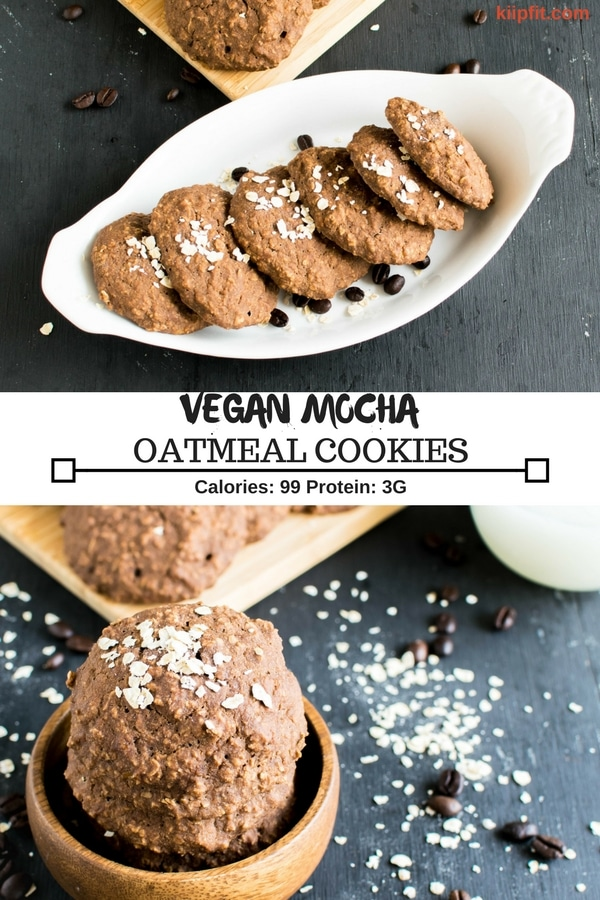 Multiple images of Vegan Mocha Oatmeal Cookies with its title and nutritional information is shown