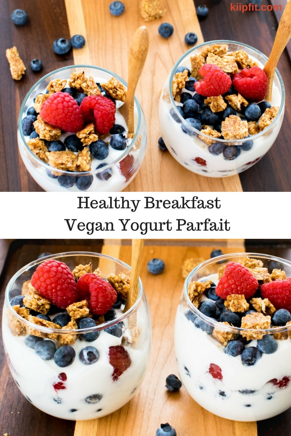 This Healthy Breakfast Veagn Yogurt Parfait is easy to whip up and uses only three ingredients to make your morning routine super easy and lip smacking | kiipfit.com