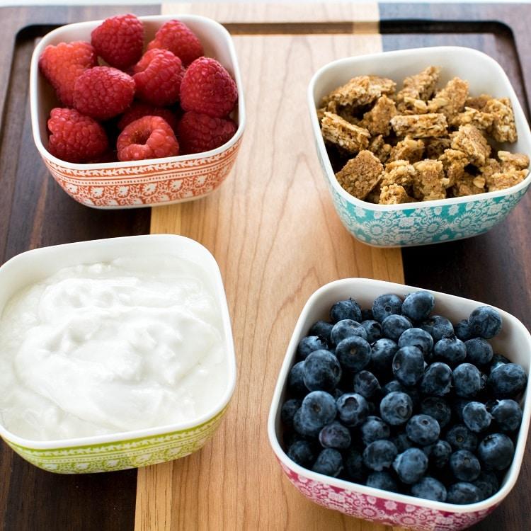Raw ingredints of Healthy Breakfast Vegan Yogurt Parfait is displayed.