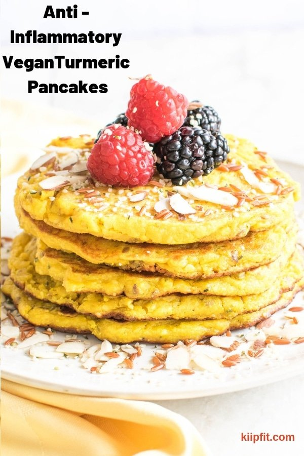 A stack of Anti-Inflammatory Turmeric Pancakes are shown
