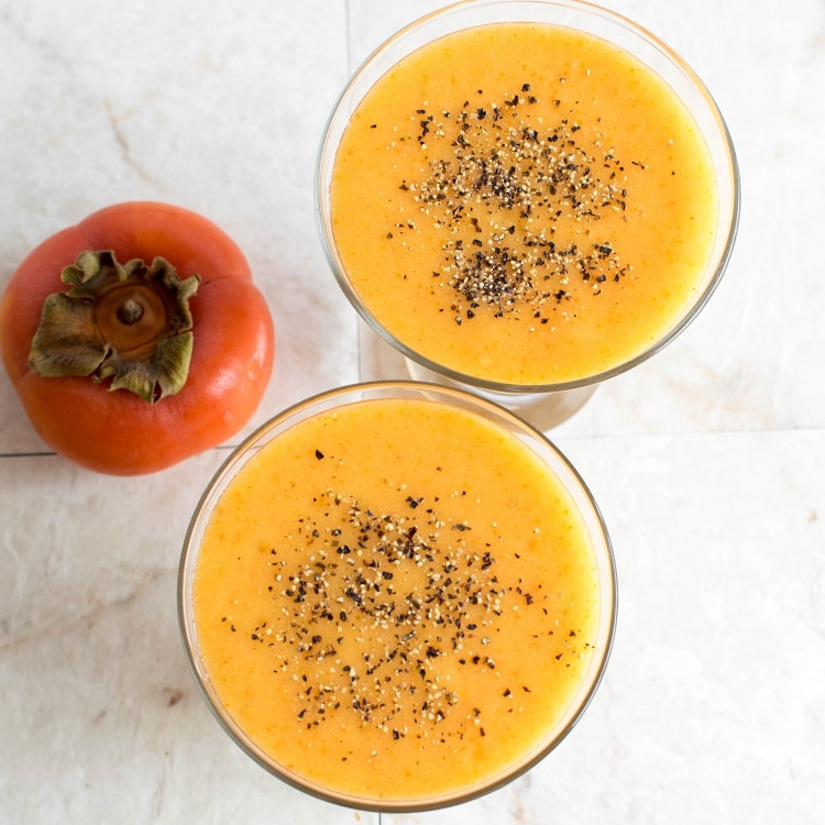 A close top view of Immune Boosting Persimmon Ginger Smoothie