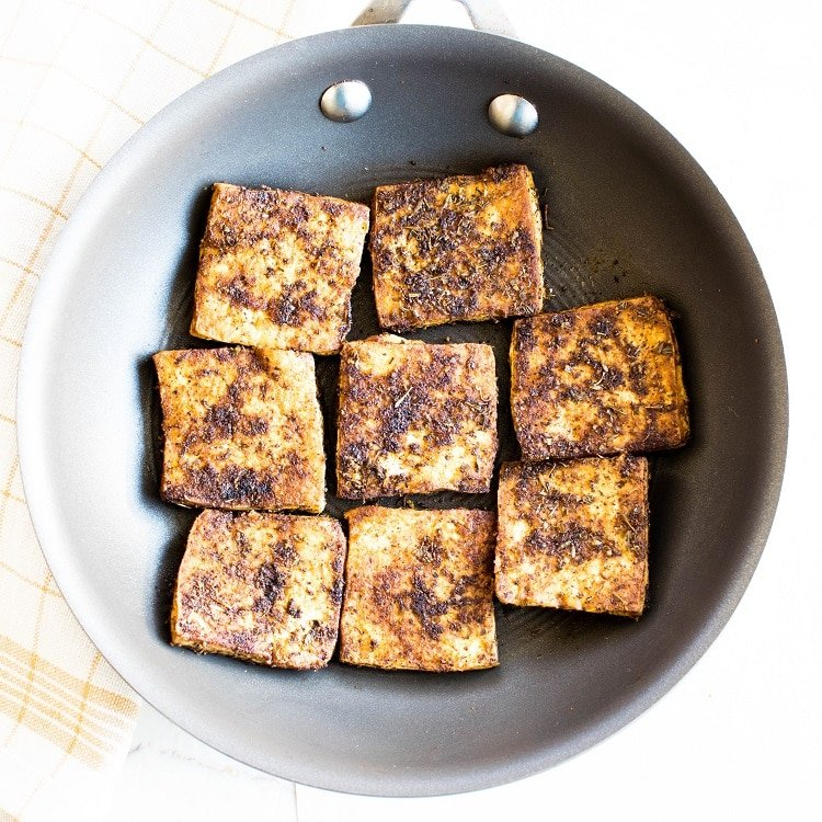 Marinated and roasted tofu is shown