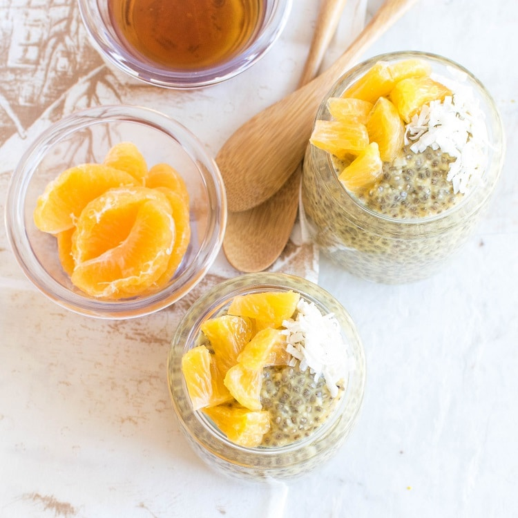 Top view of Orange Macaroon Vegan Chia Seed Pudding
