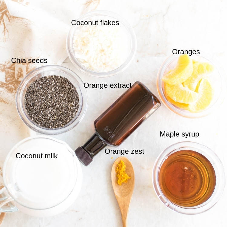 All the ingredients of Orange Macaroon Vegan Chia Seed Pudding