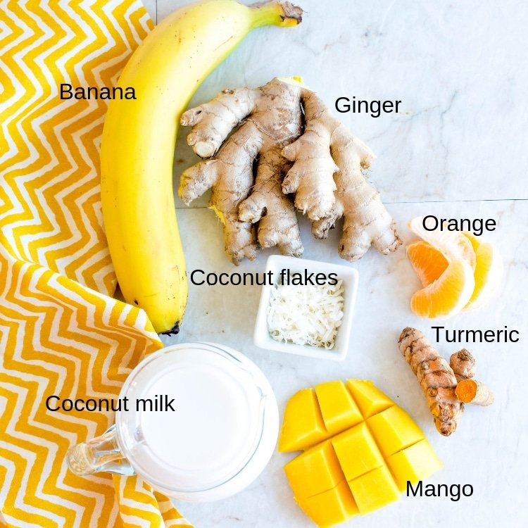 All the ingredients of Tropical Coconut Turmeric Smoothie