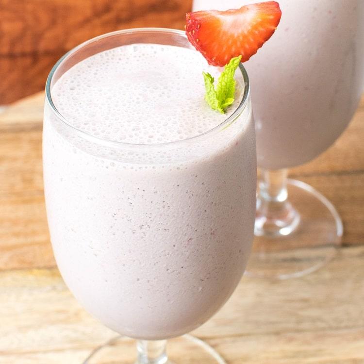 Top view of Vegan Strawberry Chocolate Lassi