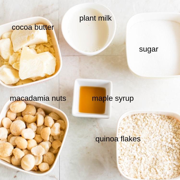 All the ingredients of Vegan White Chocolate Quinoa Granola is displayed