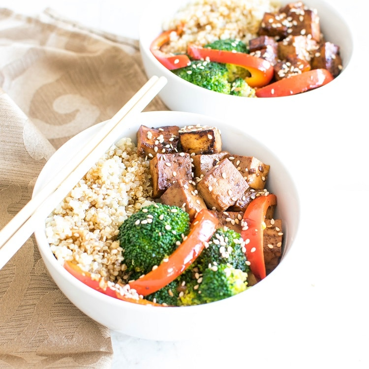 A front view of Teriyaki Tofu Quinoa Power Bowl
