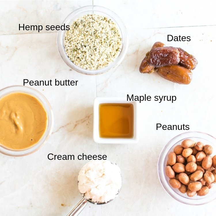 All the ingredients of No Bake Peanut Butter Cheesecake Protein Bars