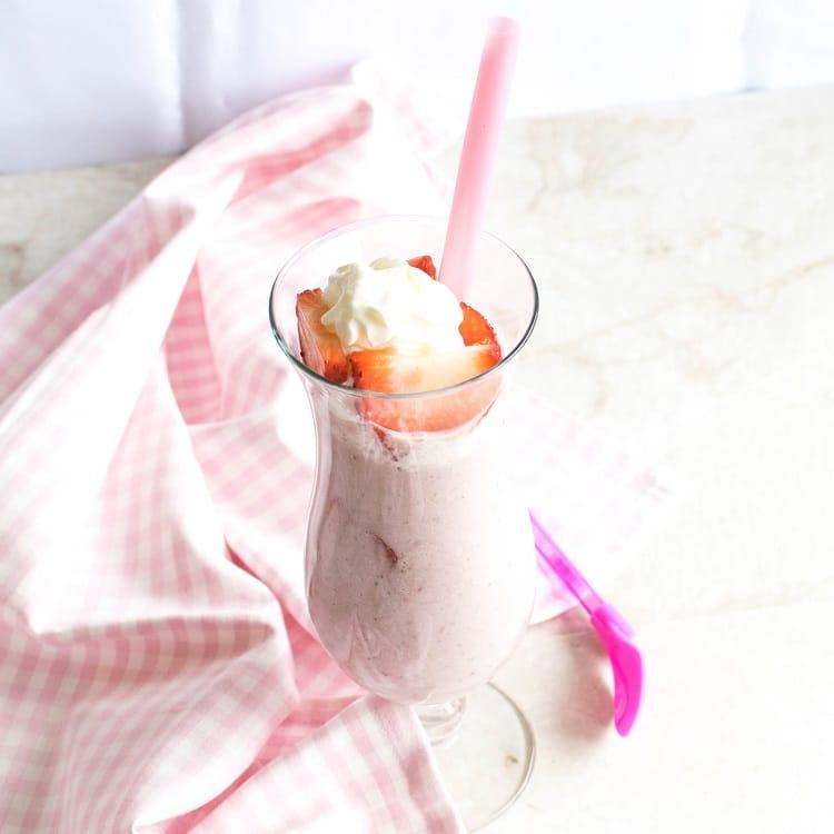 Top view of Vegan Strawberry Shortcake Protein Smoothie