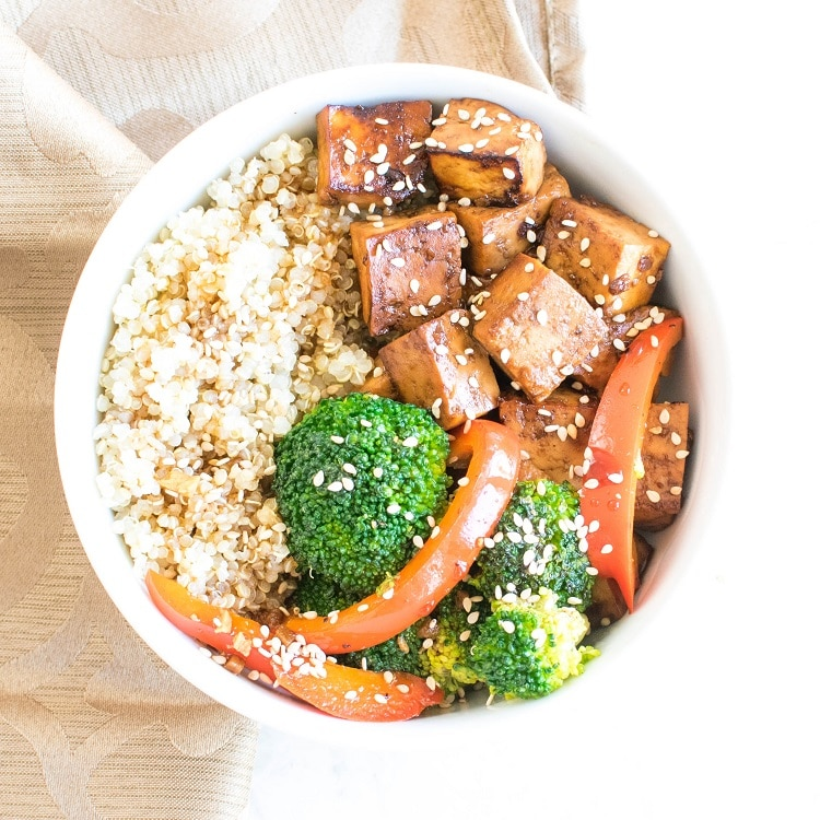 Assembled Teriyaki Tofu Quinoa Power Bowl