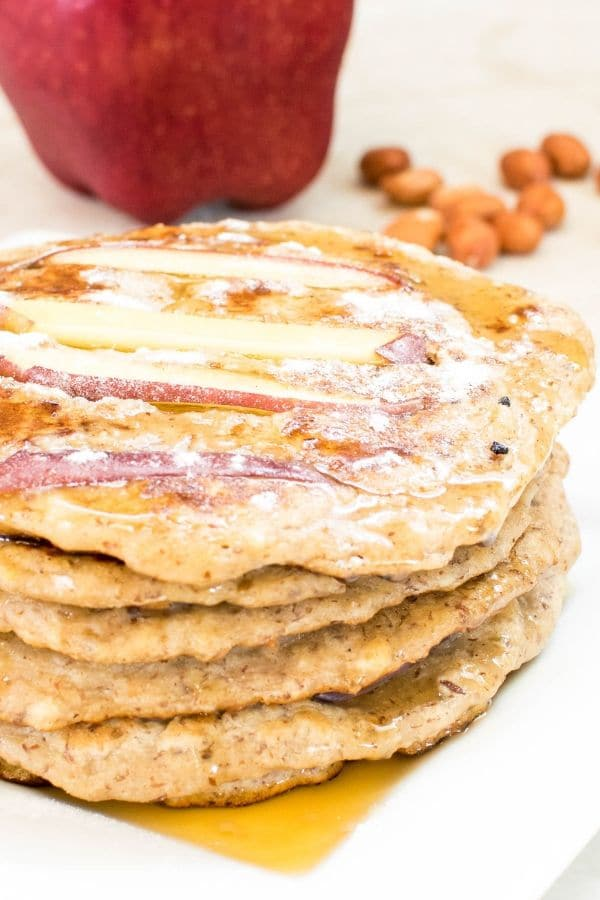 A front close view of stacked Peanut Butter Apple Pancakes