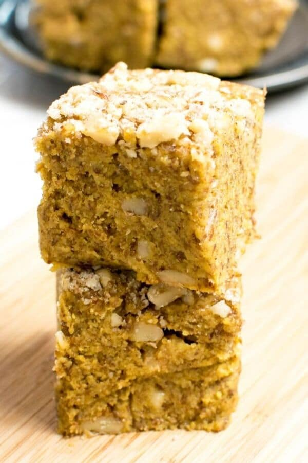 A close front view of the stack of No Bake Vegan Pumpkin Bars