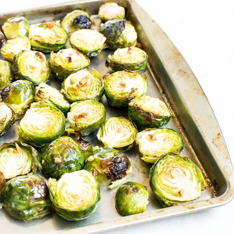 Roasted Brussel Sprouts in a baking sheet