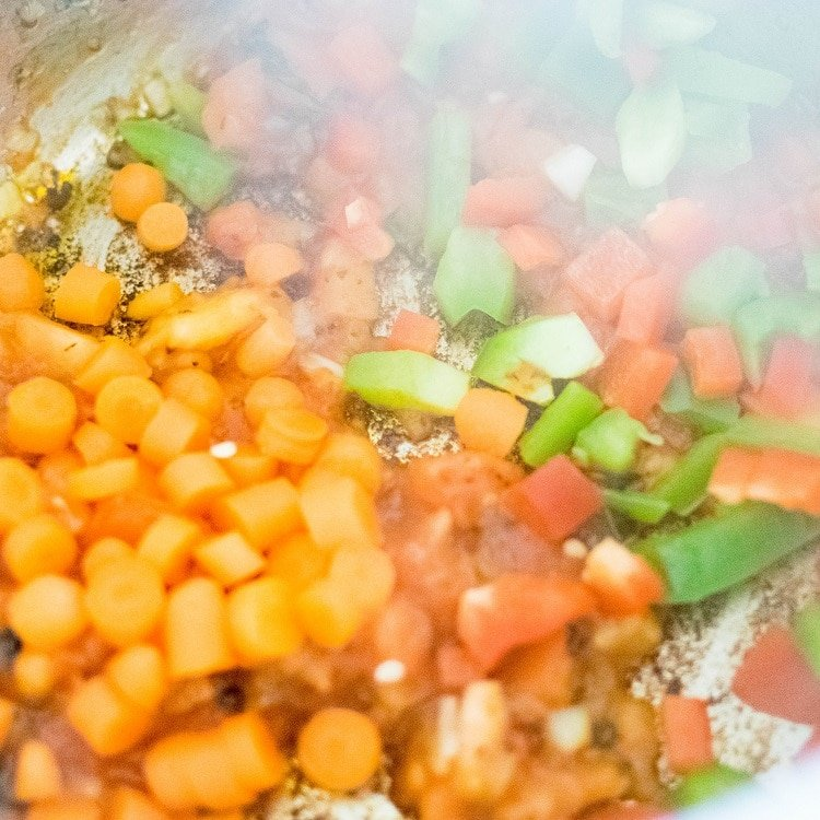 vegetables are being sauteed