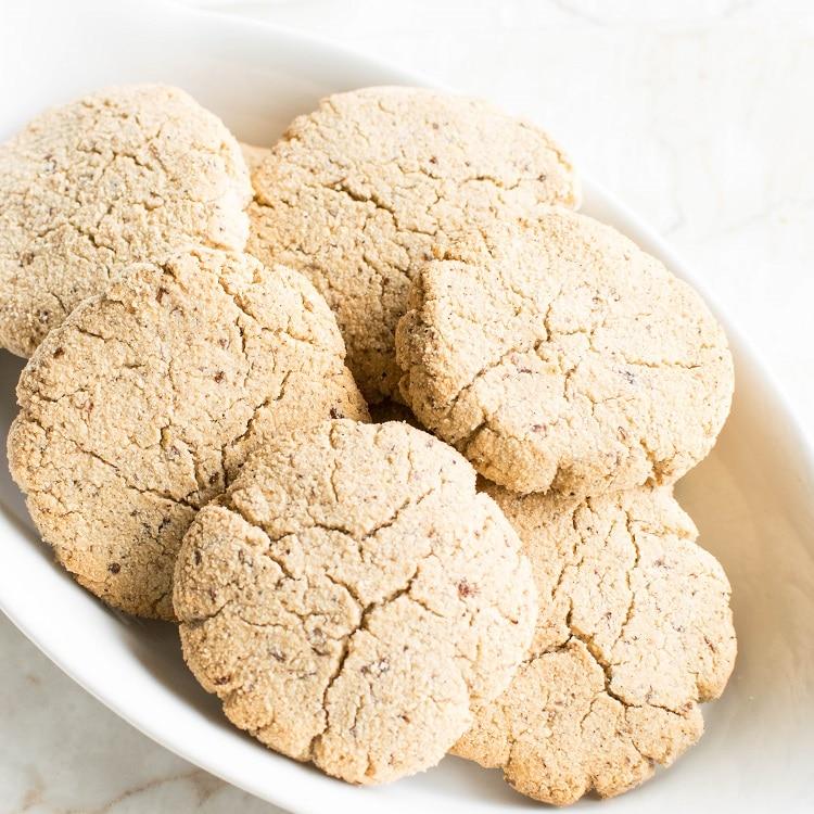 Top view of a bowl full of eggnog cookies
