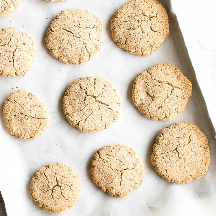 Baked eggnog cookies on the cookie sheet