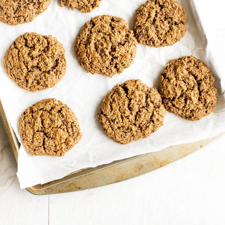 Baked Ginger Cookies on the cookie sheet