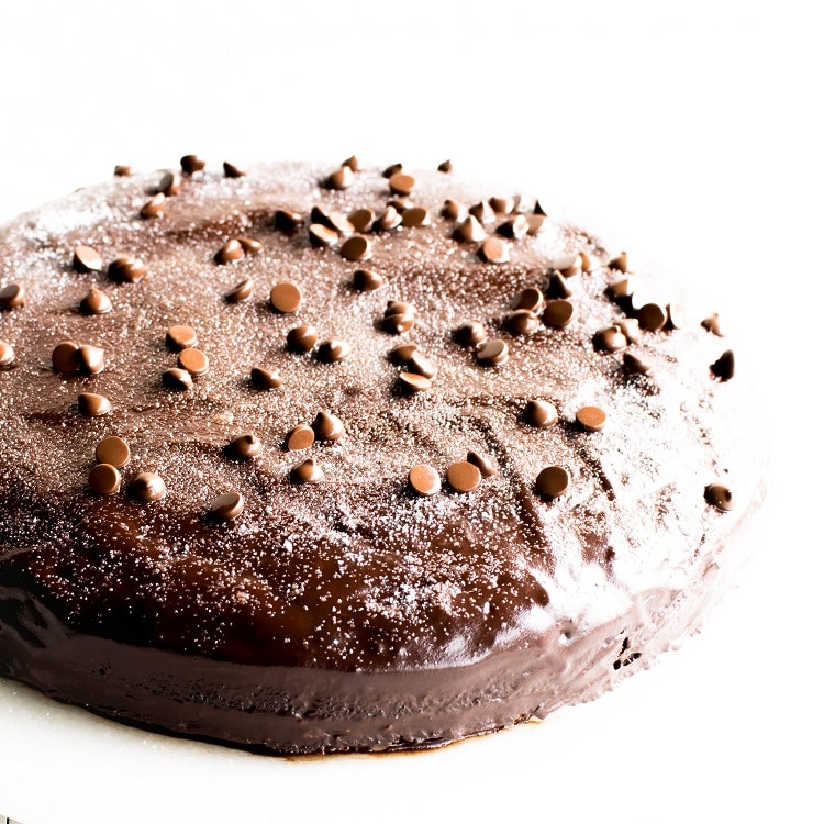 A front view of the entire vegan chocolate cake