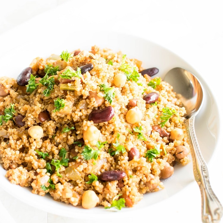 A close up view of vegan jambalaya with quinoa