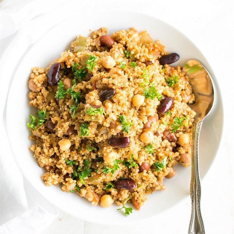 Top full view of vegan jambalaya with quinoa in a serving bowl