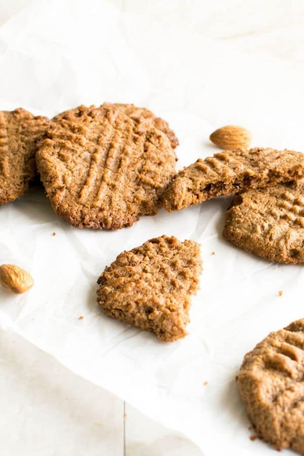 A close up view of 3 ingredient almond butter cookies