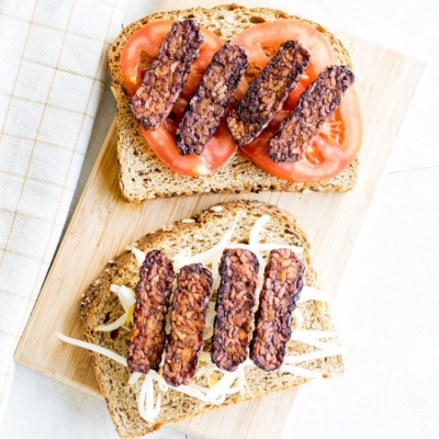 Air Fryer Tempeh Bacon on Bread slices