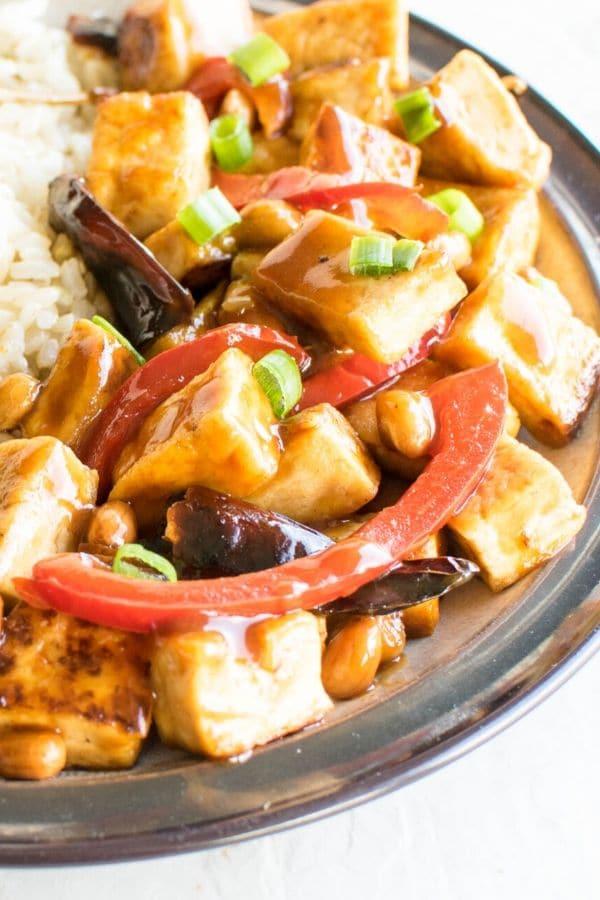 Top close up view of Kung Pao Tofu