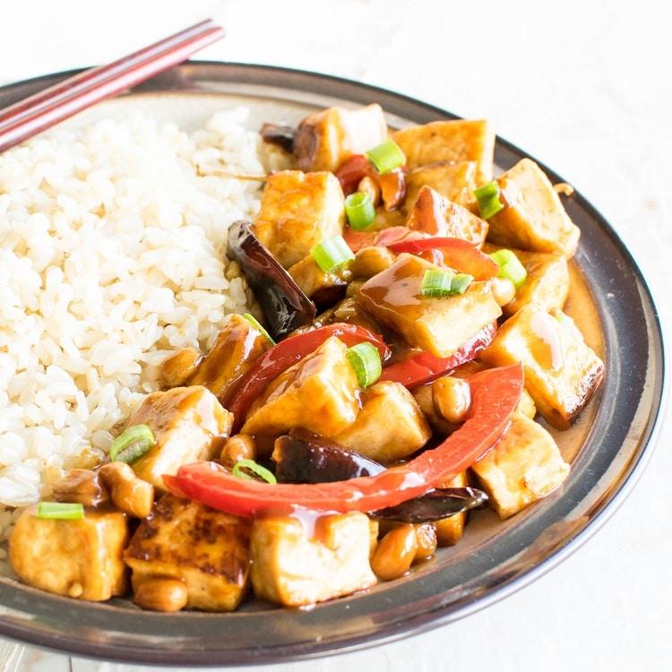 A 45 degree angle view of Kung Pao Tofu