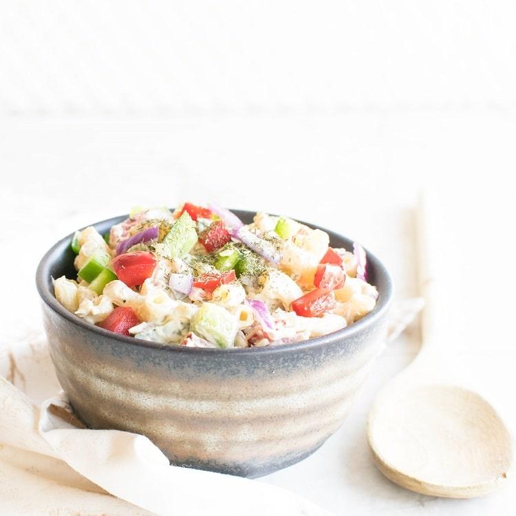 Front view of vegan macaroni salad