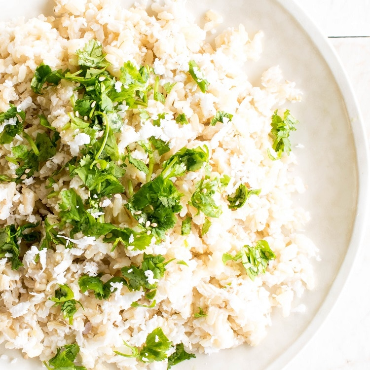 Top close up view of instant pot coconut rice