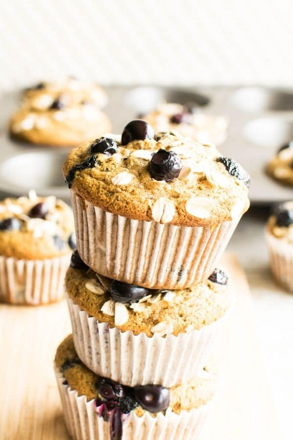 A stack of oil free vegan blueberry muffins