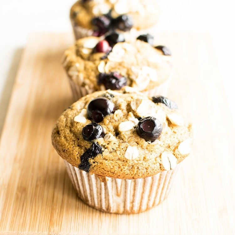 A front view of oil free vegan blueberry muffins