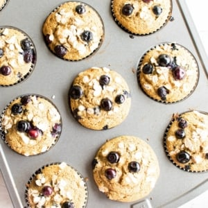 baked oil free vegan blueberry muffins