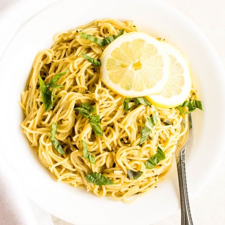 Top view of lemon pasta recipe in a serving plate.