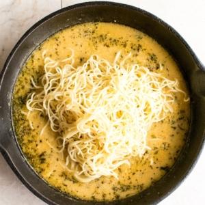toss angle hair pasta in lemon butter sauce