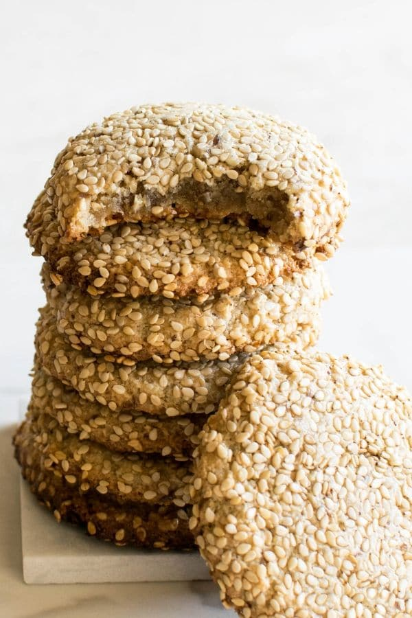 A full view of one bowl tahini cookies
