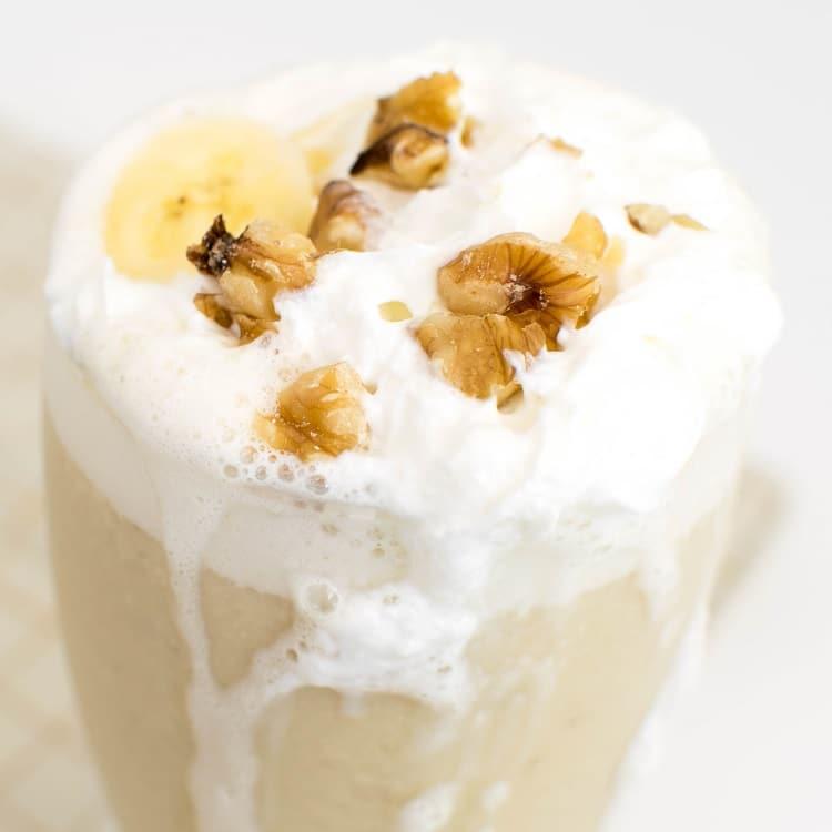 a close up view of banana milkshake