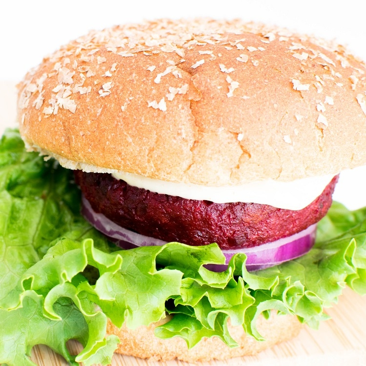 a close up view of spicy beet burger