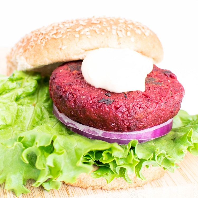 spicy beet burger with the bun on the side