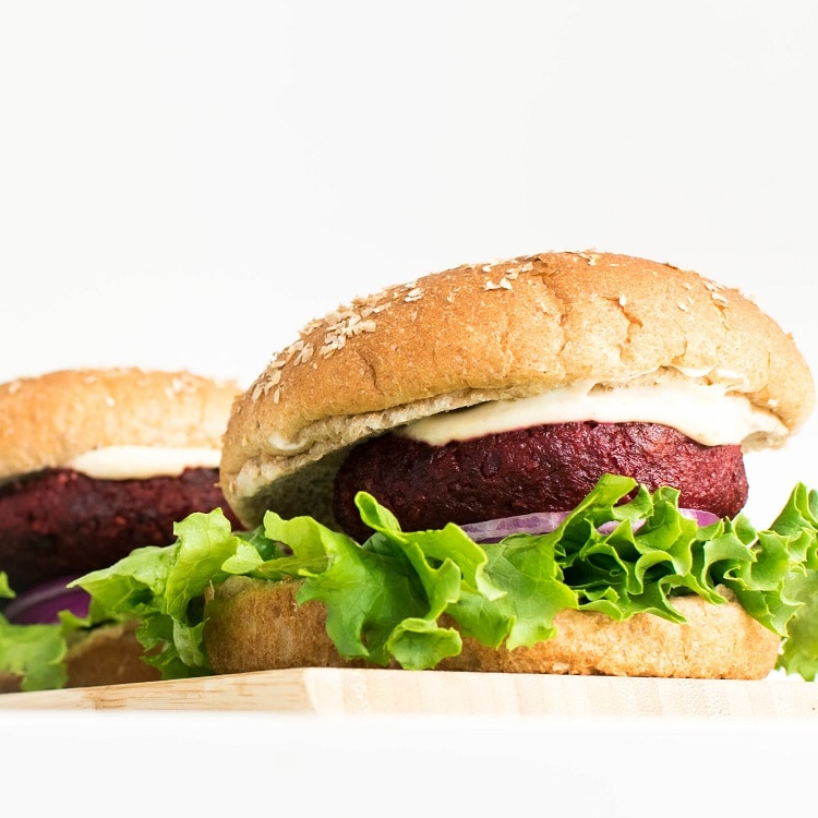 full view of spicy beet burger