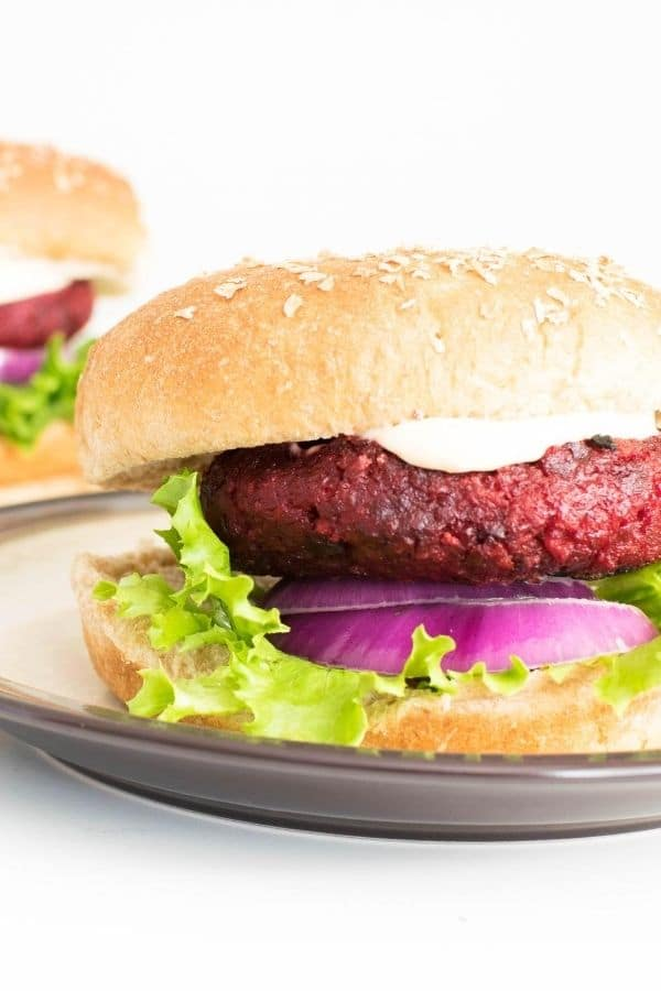 A 45 degree angle view of spicy beet burger