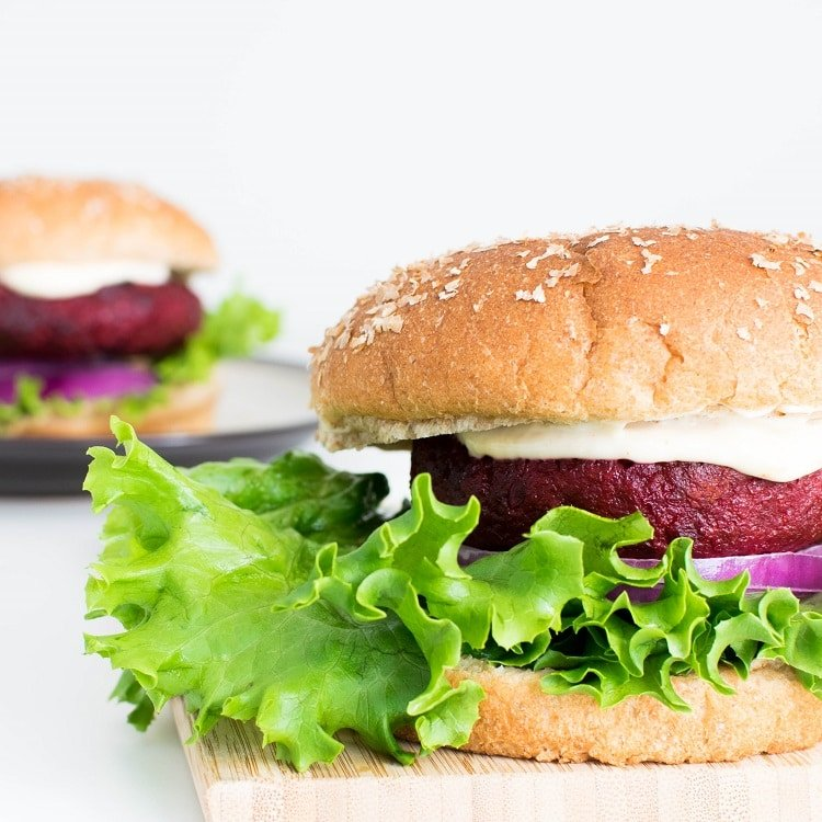 side angle view of spicy beet burger